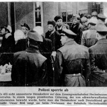 """Eine Illustrierte berichtet im Januar 1956 über die Heimkehr der """"Nichtamnestierten"""". Der fünfte in der Reihe ist Karl Paulmaier."""