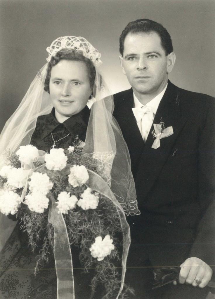 Maria und Karl Paulmaier nach ihrer Hochzeit im November 1956