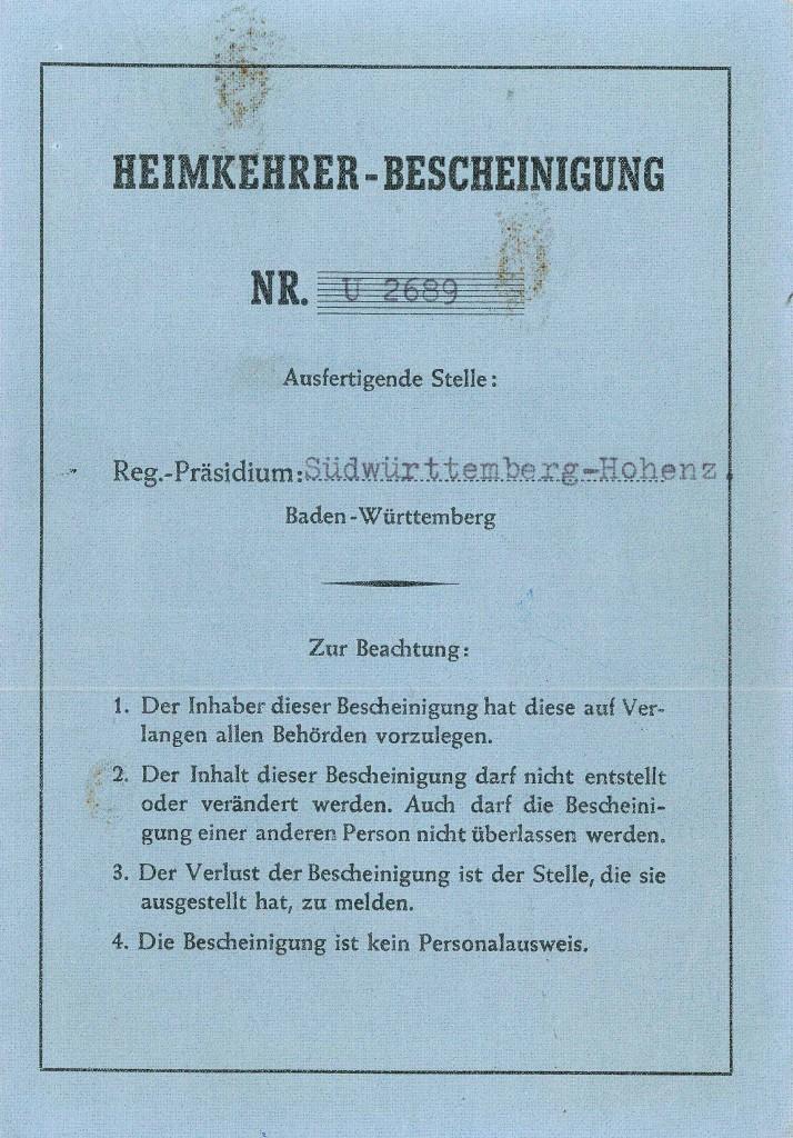 """Die """"Heimkehrer-Bescheinigung"""" von Karl Paulmaier listet Geldzahlungen aus dem Jahr 1956 auf."""