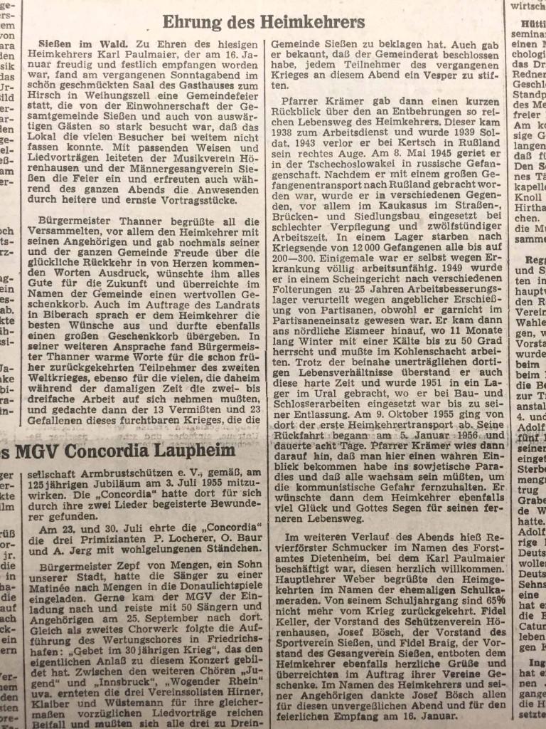 """""""Ehrung des Heimkehrers"""", Artikel in der """"Schwäbischen Zeitung"""", Lokalausgabe Laupheim, vom 27. Januar 1956."""