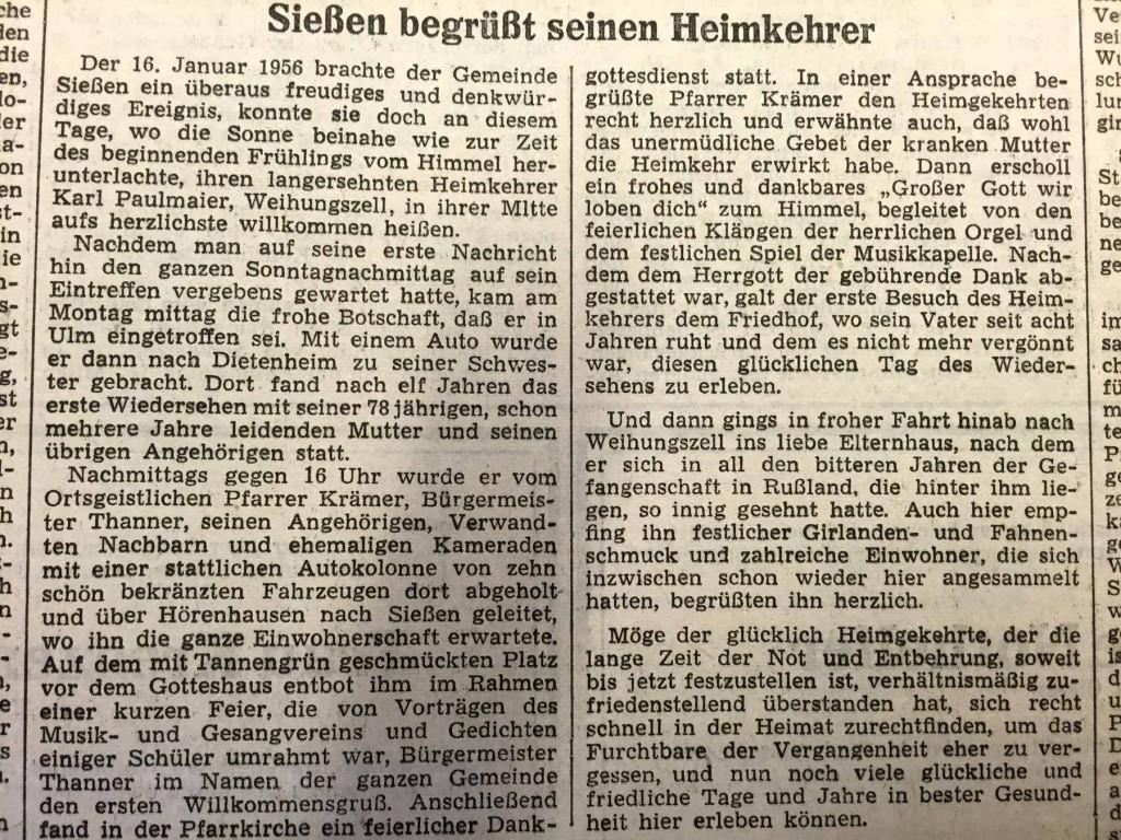 """""""Sießen begrüßt seinen Heimkehrer"""", Artikel in der """"Schwäbischen Zeitung"""", Lokalausgabe Laupheim, vom 20. Januar 1956."""