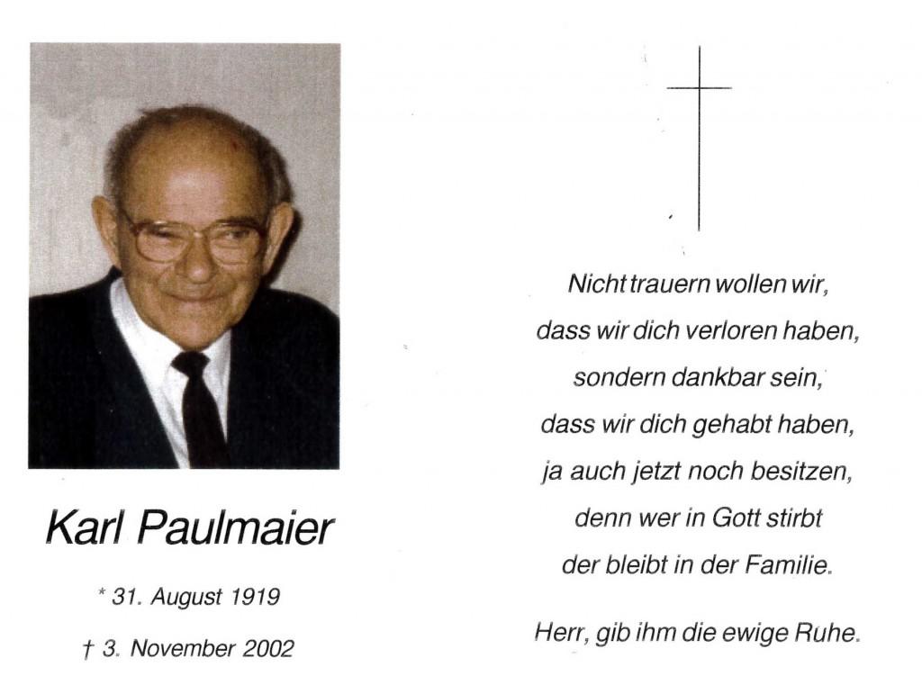 Sterbebild Karl Paulmaier, 2002