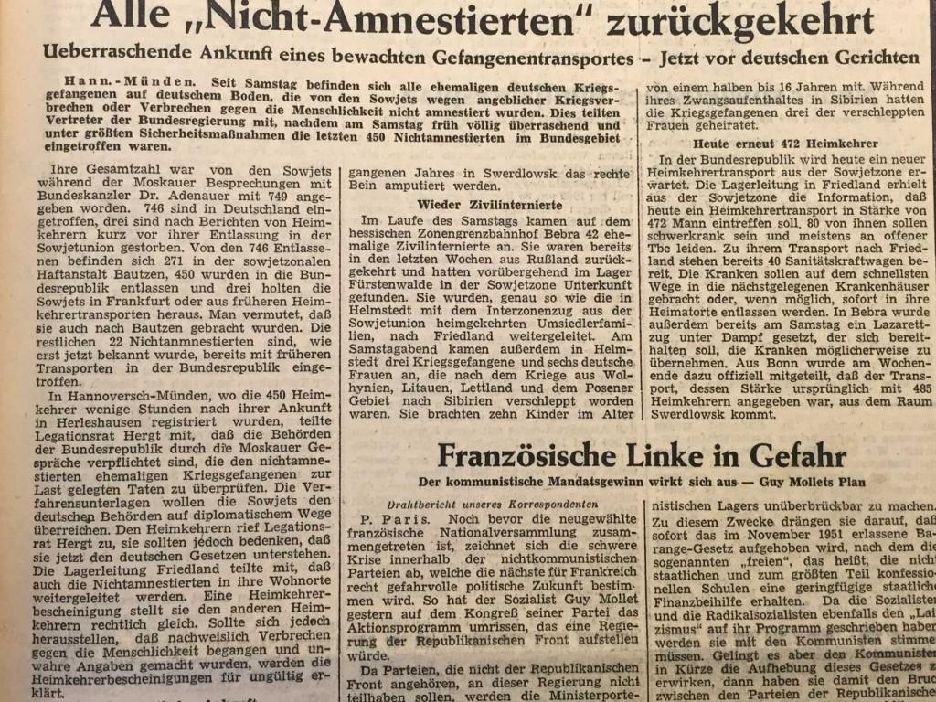 """Die """"Schwäbische Zeitung"""" berichtet am 16. Januar 1956 über die Rückkehr der letzten Kriegsgefangenen (Ausschnitt)."""